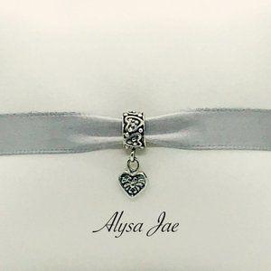 Antique Heart Dangle European Bead, Antiqued